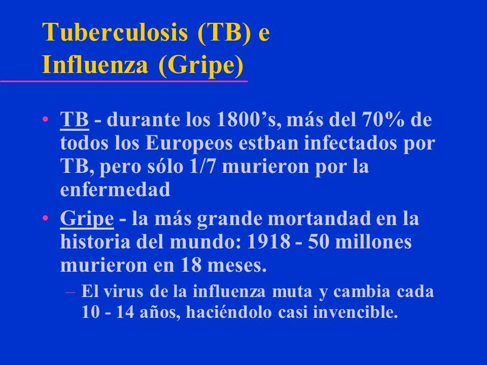 Tuberculosis (TB) e Influenza (Gripe) TB - durante los 1800s, más del 70% de todos los Europeos estban infectados por TB, pero sólo 1/7 murieron por l