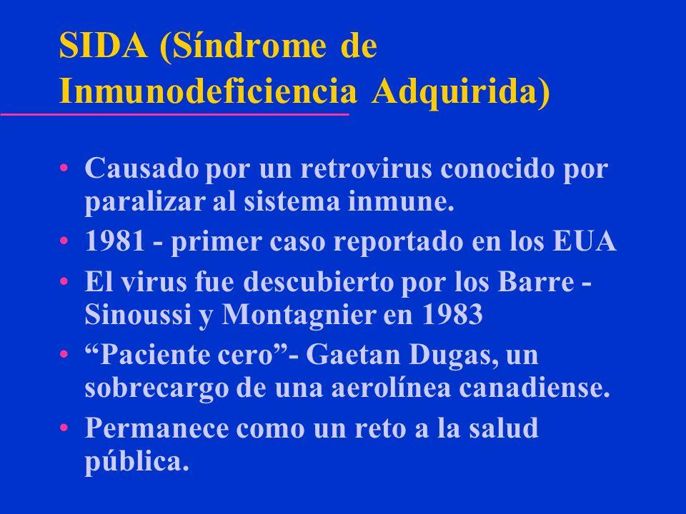 SIDA (Síndrome de Inmunodeficiencia Adquirida) Causado por un retrovirus conocido por paralizar al sistema inmune. 1981 - primer caso reportado en los
