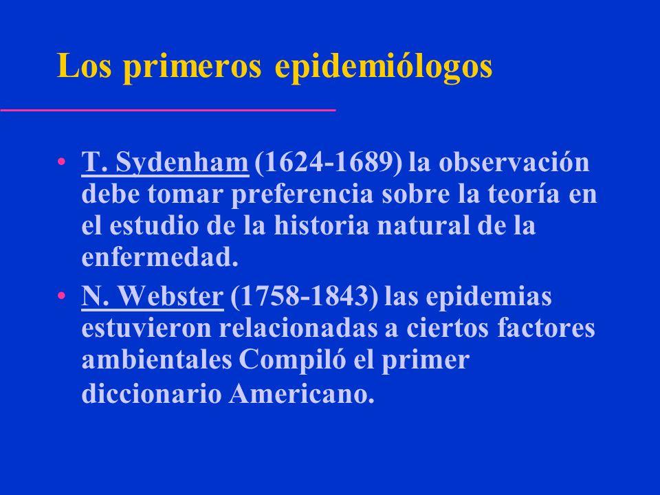Los primeros epidemiólogos T. Sydenham (1624-1689) la observación debe tomar preferencia sobre la teoría en el estudio de la historia natural de la en