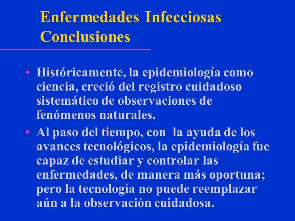 Enfermedades Infecciosas Conclusiones Históricamente, la epidemiología como ciencia, creció del registro cuidadoso sistemático de observaciones de fen