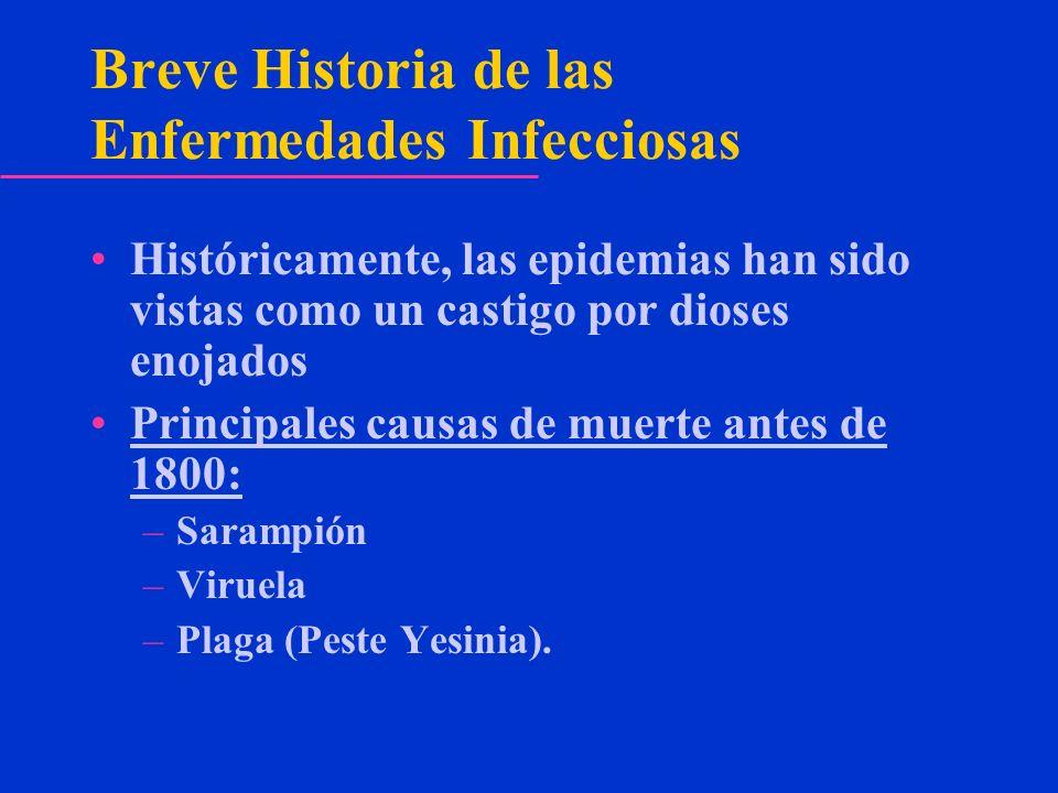 Breve Historia de las Enfermedades Infecciosas Históricamente, las epidemias han sido vistas como un castigo por dioses enojados Principales causas de