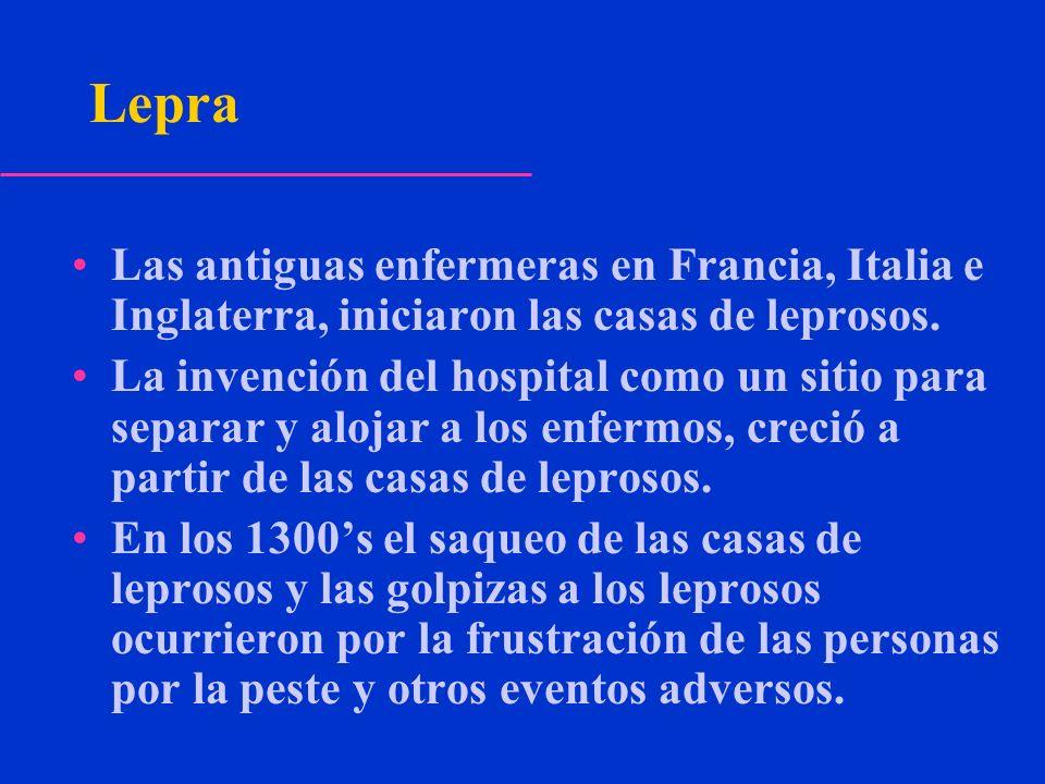 Lepra Las antiguas enfermeras en Francia, Italia e Inglaterra, iniciaron las casas de leprosos. La invención del hospital como un sitio para separar y