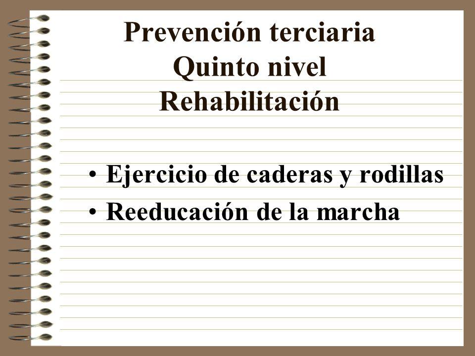 Prevención terciaria Quinto nivel Rehabilitación Ejercicio de caderas y rodillas Reeducación de la marcha