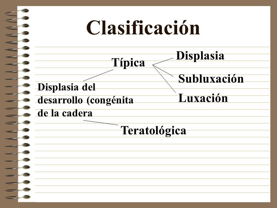 Clasificación Típica Teratológica Displasia del desarrollo (congénita de la cadera Displasia Subluxación Luxación