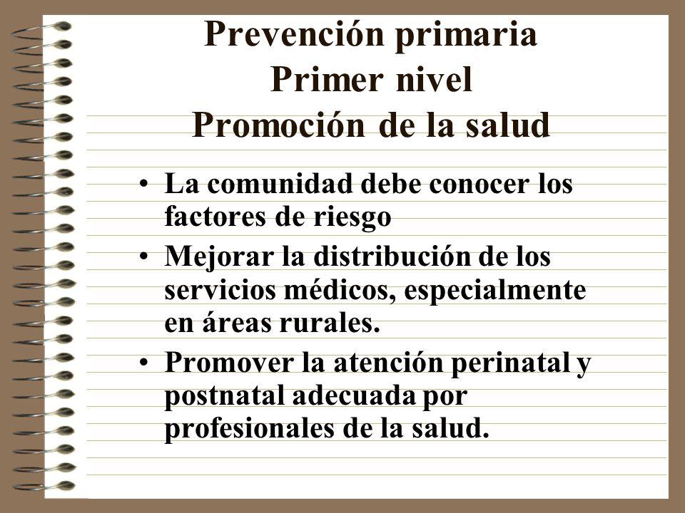 Prevención primaria Primer nivel Promoción de la salud La comunidad debe conocer los factores de riesgo Mejorar la distribución de los servicios médic