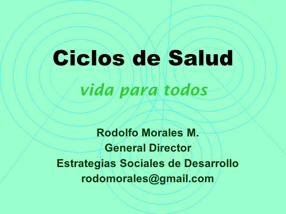 Ciclos de Salud vida para todos Rodolfo Morales M. General Director Estrategias Sociales de Desarrollo rodomorales@gmail.com