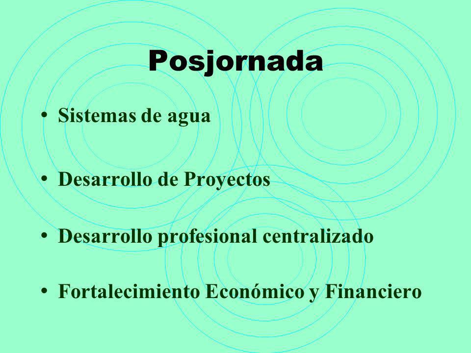 Posjornada Sistemas de agua Desarrollo de Proyectos Desarrollo profesional centralizado Fortalecimiento Económico y Financiero