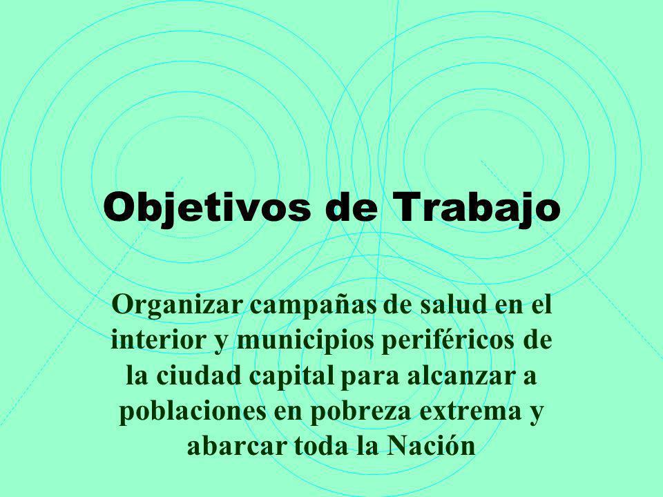 Objetivos de Trabajo Organizar campañas de salud en el interior y municipios periféricos de la ciudad capital para alcanzar a poblaciones en pobreza e