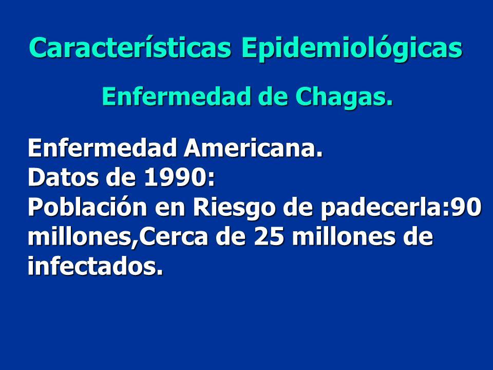 Enfermedad Americana. Datos de 1990: Población en Riesgo de padecerla:90 millones,Cerca de 25 millones de infectados. Características Epidemiológicas