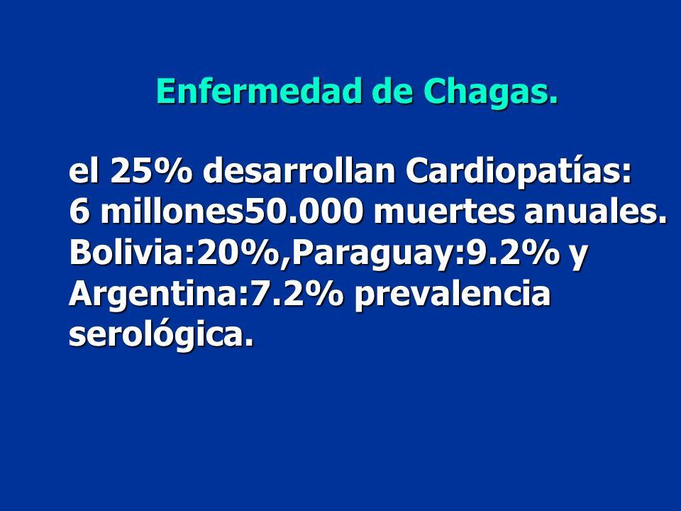 el 25% desarrollan Cardiopatías: 6 millones50.000 muertes anuales. Bolivia:20%,Paraguay:9.2% y Argentina:7.2% prevalencia serológica. Enfermedad de Ch