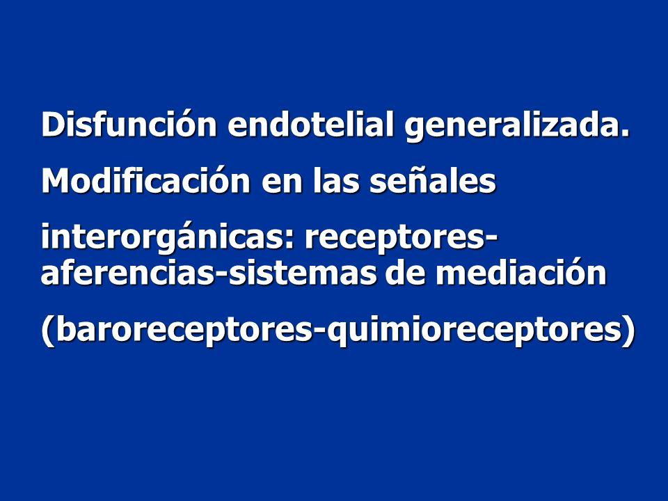 Disfunción endotelial generalizada. Modificación en las señales interorgánicas: receptores- aferencias-sistemas de mediación (baroreceptores-quimiorec