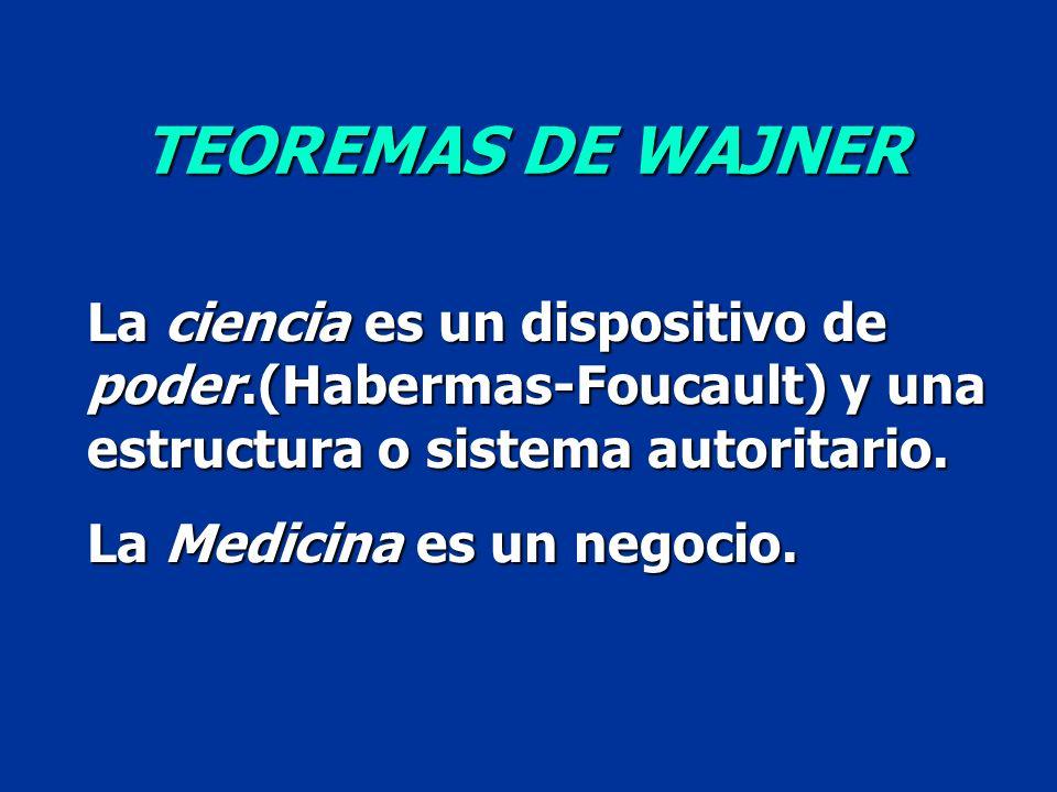 La ciencia es un dispositivo de poder.(Habermas-Foucault) y una estructura o sistema autoritario. La Medicina es un negocio. TEOREMAS DE WAJNER