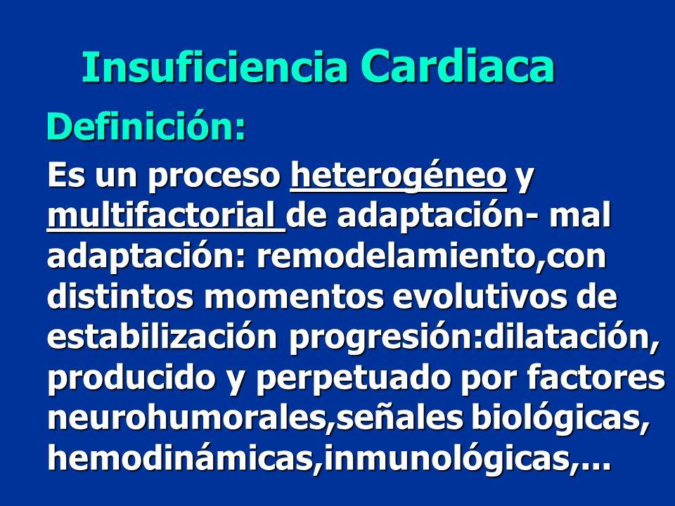 Insuficiencia Cardiaca Definición: Es un proceso heterogéneo y multifactorial de adaptación- mal adaptación: remodelamiento,con distintos momentos evo