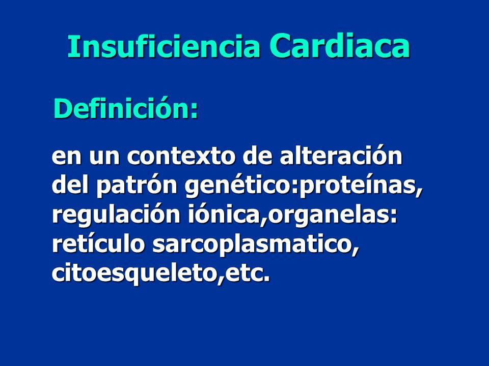 en un contexto de alteración del patrón genético:proteínas, regulación iónica,organelas: retículo sarcoplasmatico, citoesqueleto,etc. Insuficiencia Ca