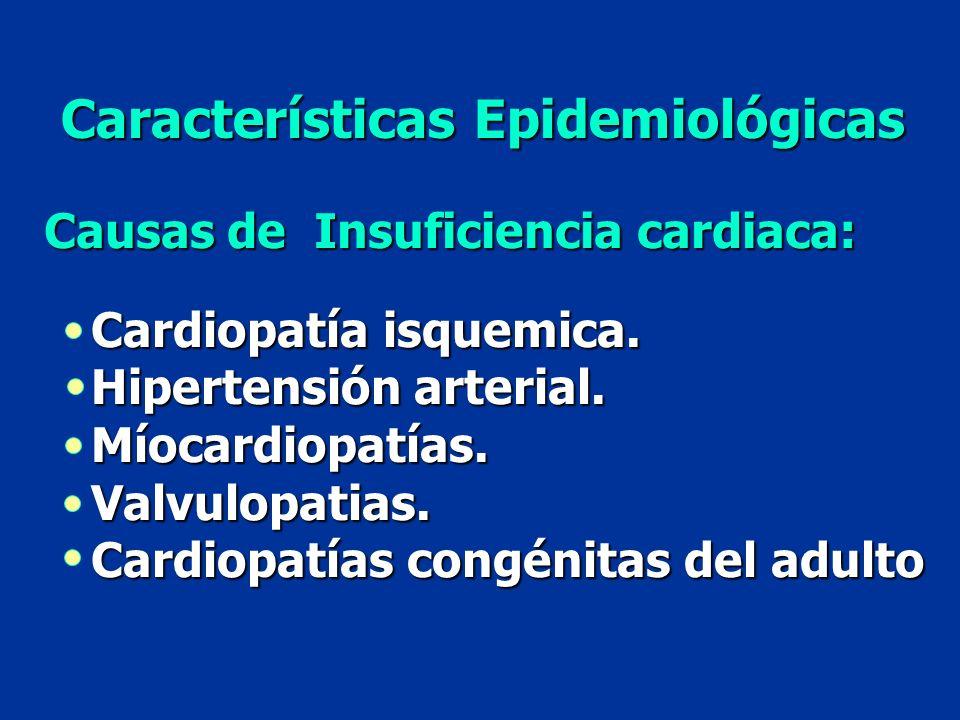 Características Epidemiológicas Causas de Insuficiencia cardiaca: Cardiopatía isquemica. Hipertensión arterial. Míocardiopatías.Valvulopatias. Cardiop