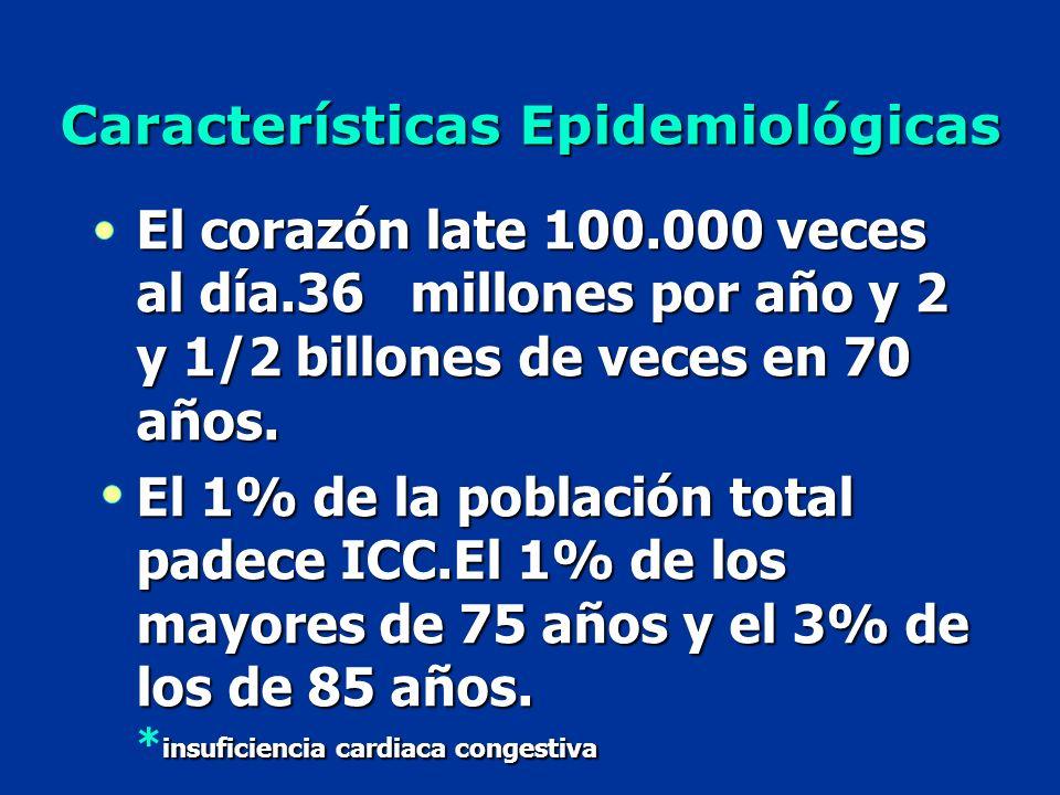 Características Epidemiológicas El corazón late 100.000 veces al día.36 millones por año y 2 y 1/2 billones de veces en 70 años. El 1% de la población