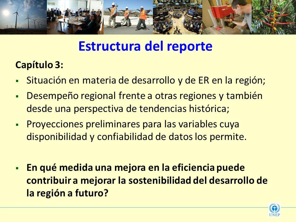 Estructura del reporte Capítulo 3: Situación en materia de desarrollo y de ER en la región; Desempeño regional frente a otras regiones y también desde