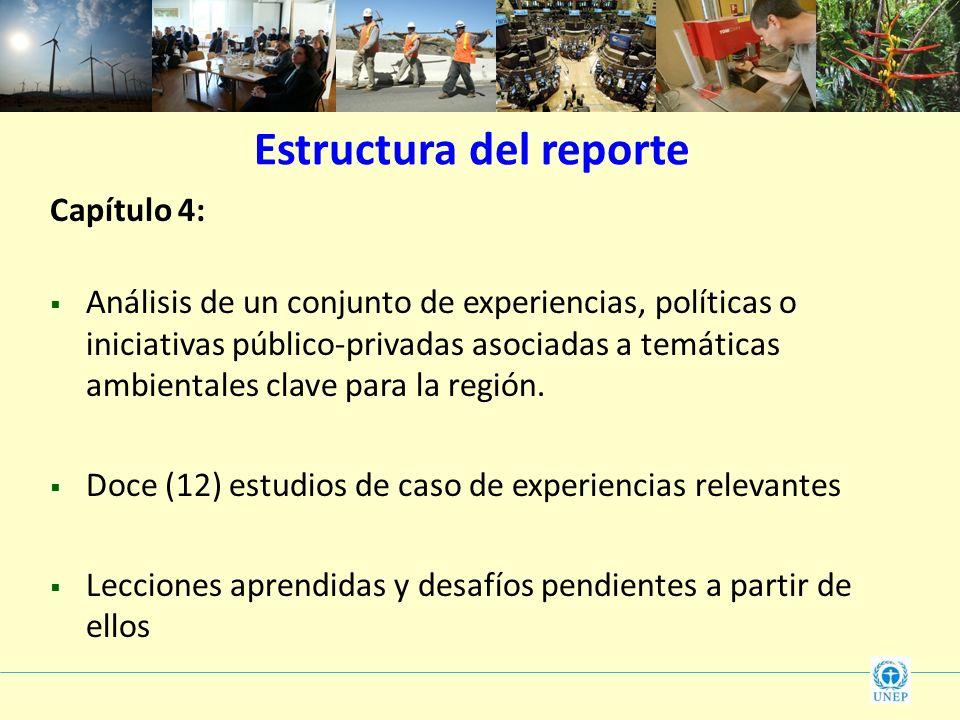 Estructura del reporte Capítulo 4: Análisis de un conjunto de experiencias, políticas o iniciativas público-privadas asociadas a temáticas ambientales