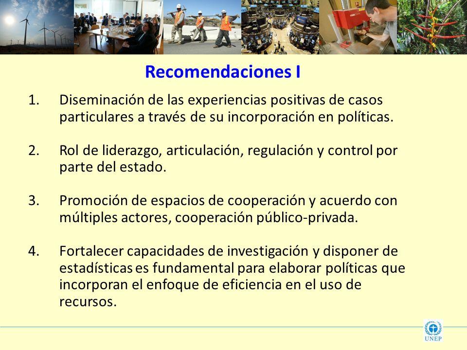 1.Diseminación de las experiencias positivas de casos particulares a través de su incorporación en políticas. 2.Rol de liderazgo, articulación, regula