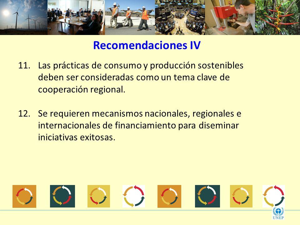 11.Las prácticas de consumo y producción sostenibles deben ser consideradas como un tema clave de cooperación regional. 12.Se requieren mecanismos nac