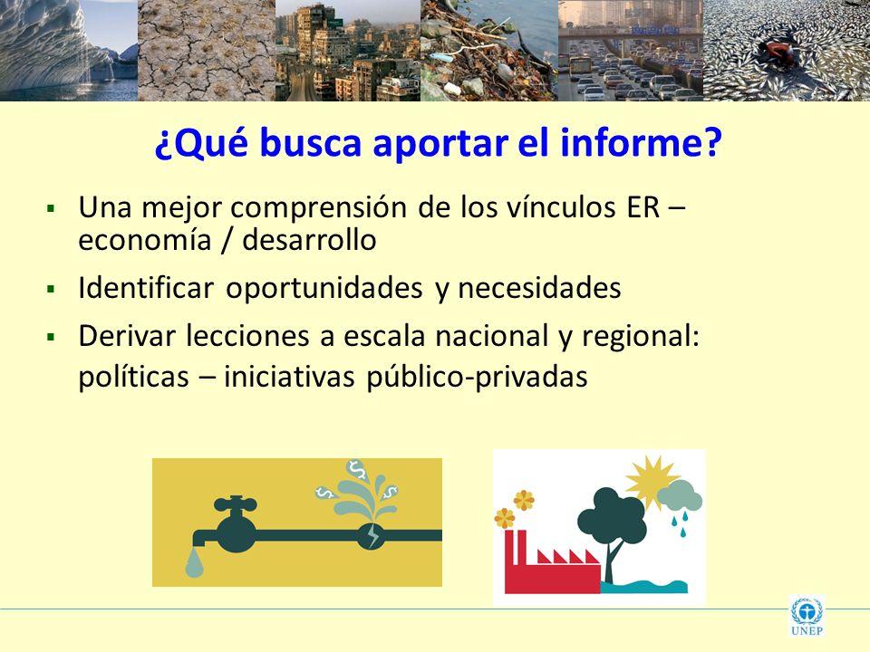 ¿Qué busca aportar el informe? Una mejor comprensión de los vínculos ER – economía / desarrollo Identificar oportunidades y necesidades Derivar leccio
