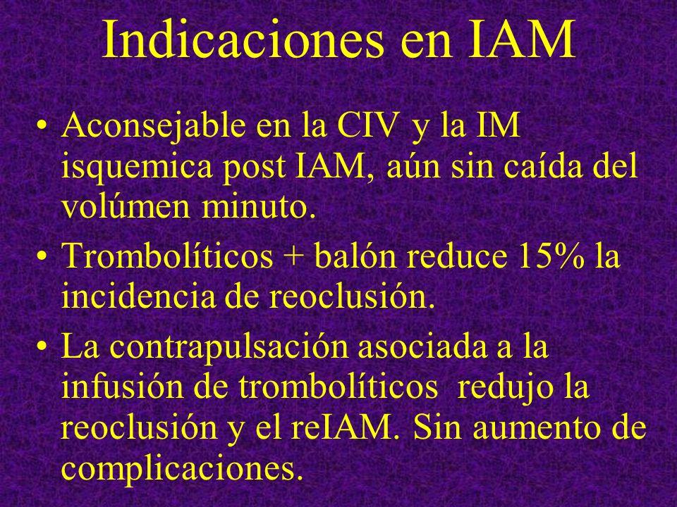 Indicaciones en IAM Aconsejable en la CIV y la IM isquemica post IAM, aún sin caída del volúmen minuto. Trombolíticos + balón reduce 15% la incidencia