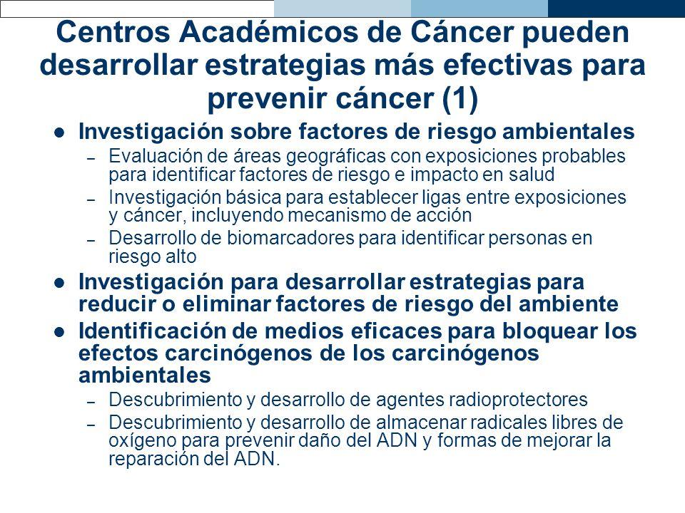 Centros Académicos de Cáncer pueden desarrollar estrategias más efectivas para prevenir cáncer (1) Investigación sobre factores de riesgo ambientales