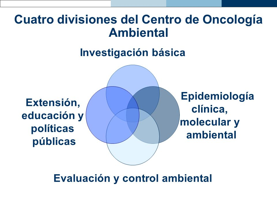 Cuatro divisiones del Centro de Oncología Ambiental Investigación básica Epidemiología clínica, molecular y ambiental Evaluación y control ambiental E