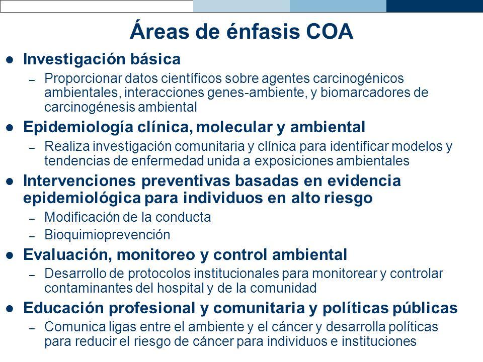 Áreas de énfasis COA Investigación básica – Proporcionar datos científicos sobre agentes carcinogénicos ambientales, interacciones genes-ambiente, y b