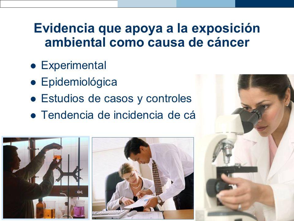 Evidencia que apoya a la exposición ambiental como causa de cáncer Experimental Epidemiológica Estudios de casos y controles Tendencia de incidencia d