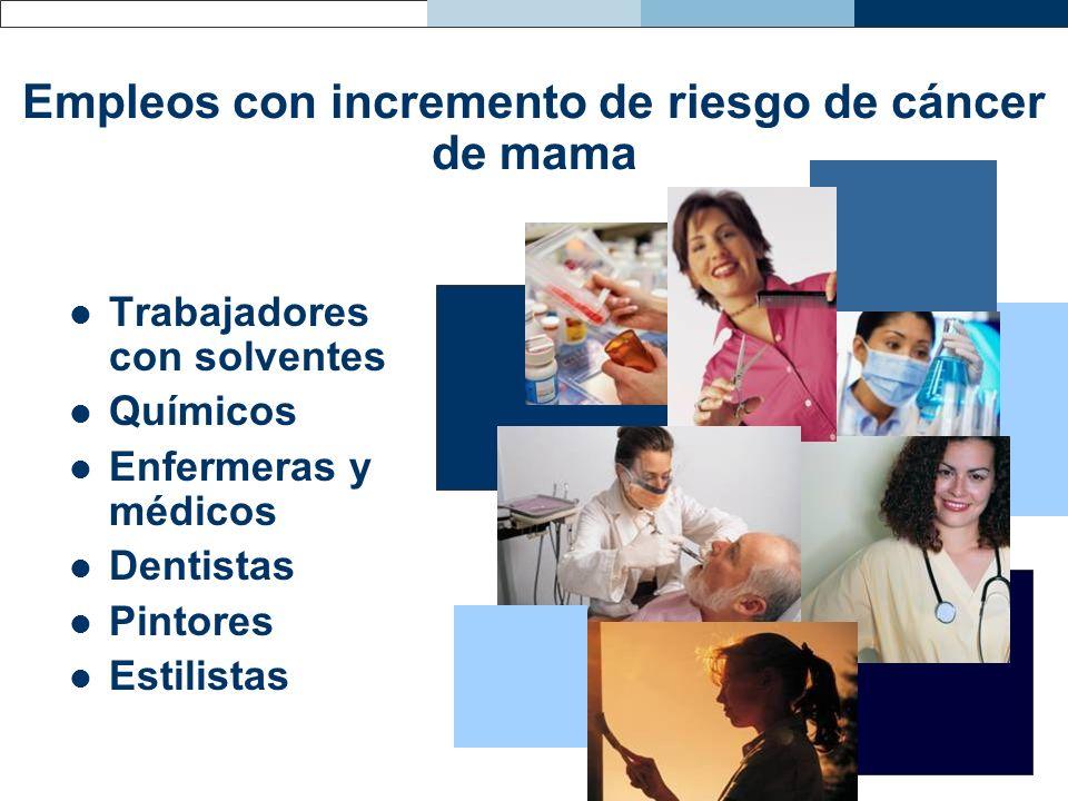 Empleos con incremento de riesgo de cáncer de mama Trabajadores con solventes Químicos Enfermeras y médicos Dentistas Pintores Estilistas