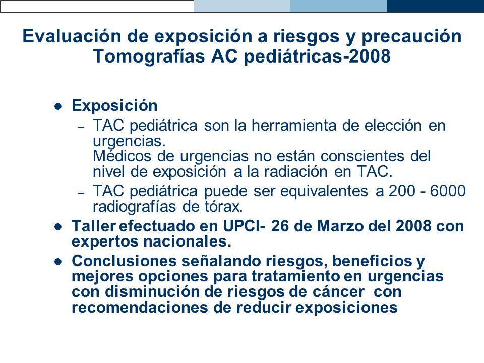 Evaluación de exposición a riesgos y precaución Tomografías AC pediátricas-2008 Exposición – TAC pediátrica son la herramienta de elección en urgencia