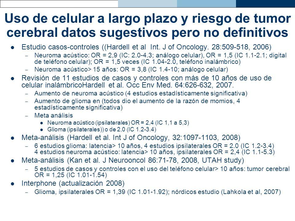 Uso de celular a largo plazo y riesgo de tumor cerebral datos sugestivos pero no definitivos Estudio casos-controles ((Hardell et al Int. J of Oncolog