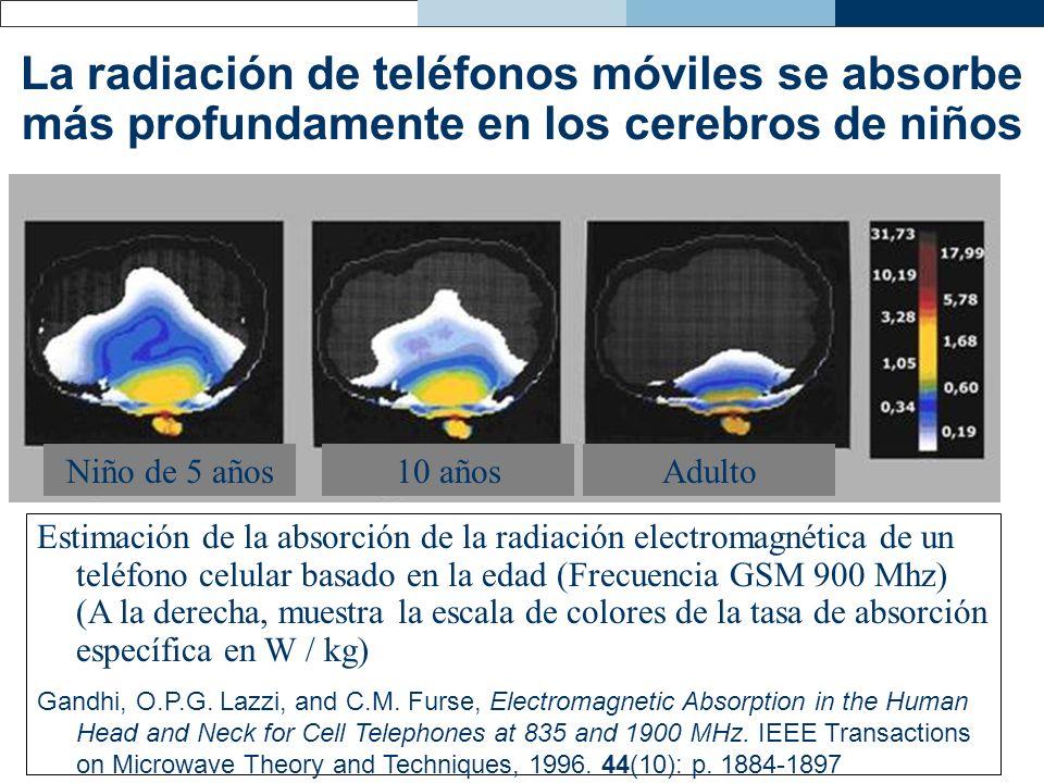La radiación de teléfonos móviles se absorbe más profundamente en los cerebros de niños Estimación de la absorción de la radiación electromagnética de