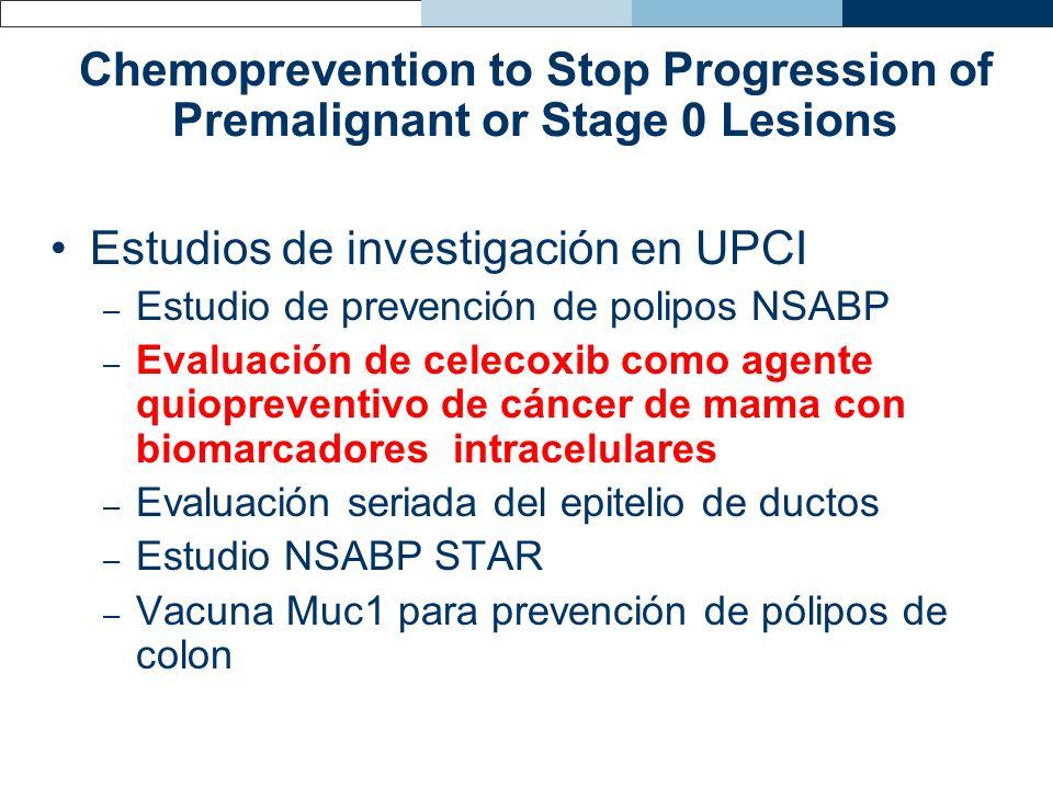 Chemoprevention to Stop Progression of Premalignant or Stage 0 Lesions Estudios de investigación en UPCI – Estudio de prevención de polipos NSABP – Ev