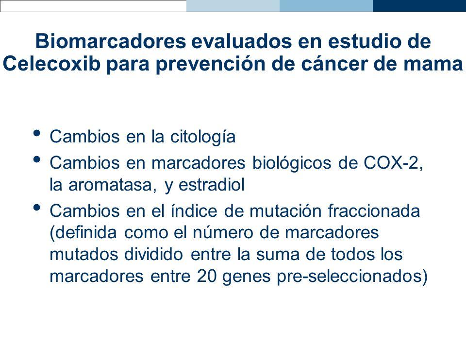 Biomarcadores evaluados en estudio de Celecoxib para prevención de cáncer de mama Cambios en la citología Cambios en marcadores biológicos de COX-2, l