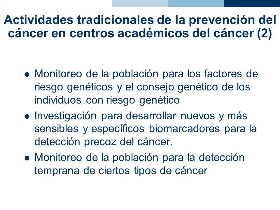 Actividades tradicionales de la prevención del cáncer en centros académicos del cáncer (2) Monitoreo de la población para los factores de riesgo genét