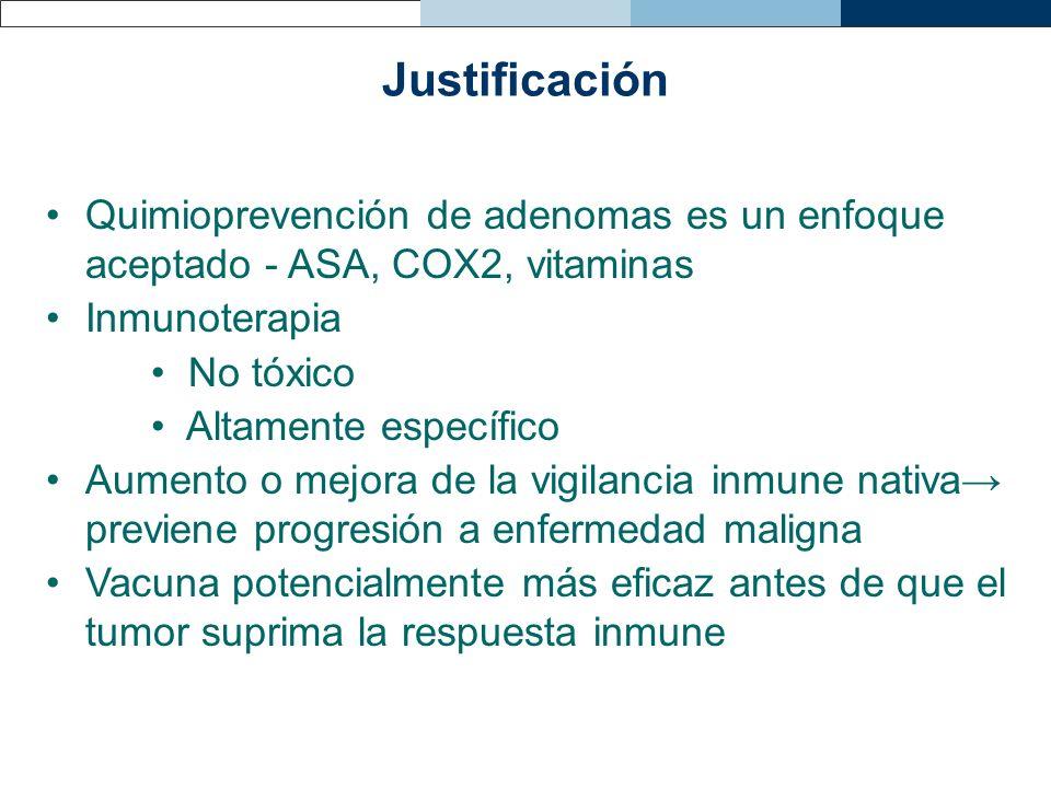 Justificación Quimioprevención de adenomas es un enfoque aceptado - ASA, COX2, vitaminas Inmunoterapia No tóxico Altamente específico Aumento o mejora