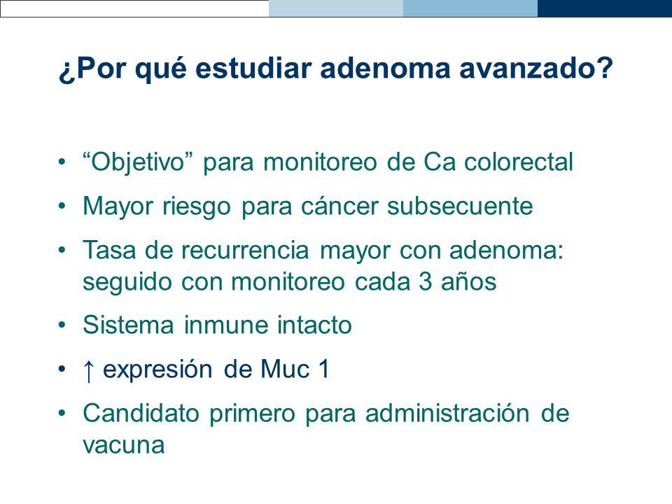 ¿Por qué estudiar adenoma avanzado? Objetivo para monitoreo de Ca colorectal Mayor riesgo para cáncer subsecuente Tasa de recurrencia mayor con adenom