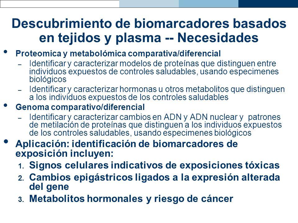 Descubrimiento de biomarcadores basados en tejidos y plasma -- Necesidades Proteomica y metabolómica comparativa/diferencial – Identificar y caracteri