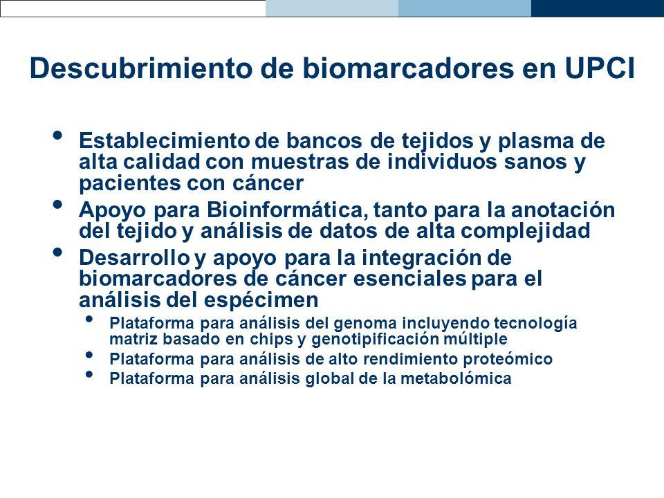 Descubrimiento de biomarcadores en UPCI Establecimiento de bancos de tejidos y plasma de alta calidad con muestras de individuos sanos y pacientes con