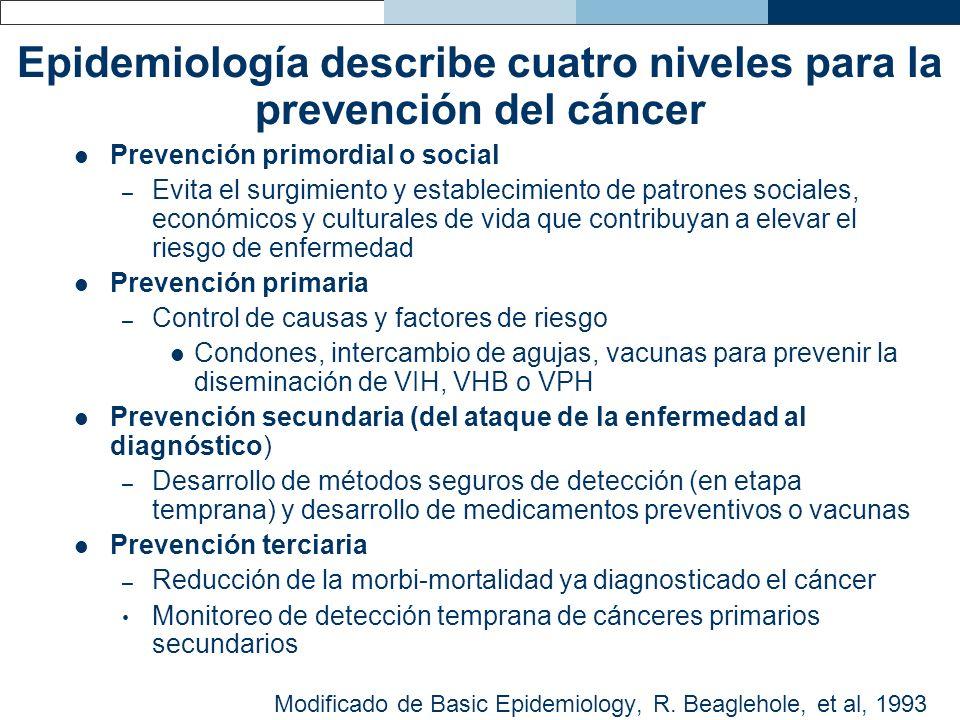 Epidemiología describe cuatro niveles para la prevención del cáncer Prevención primordial o social – Evita el surgimiento y establecimiento de patrone