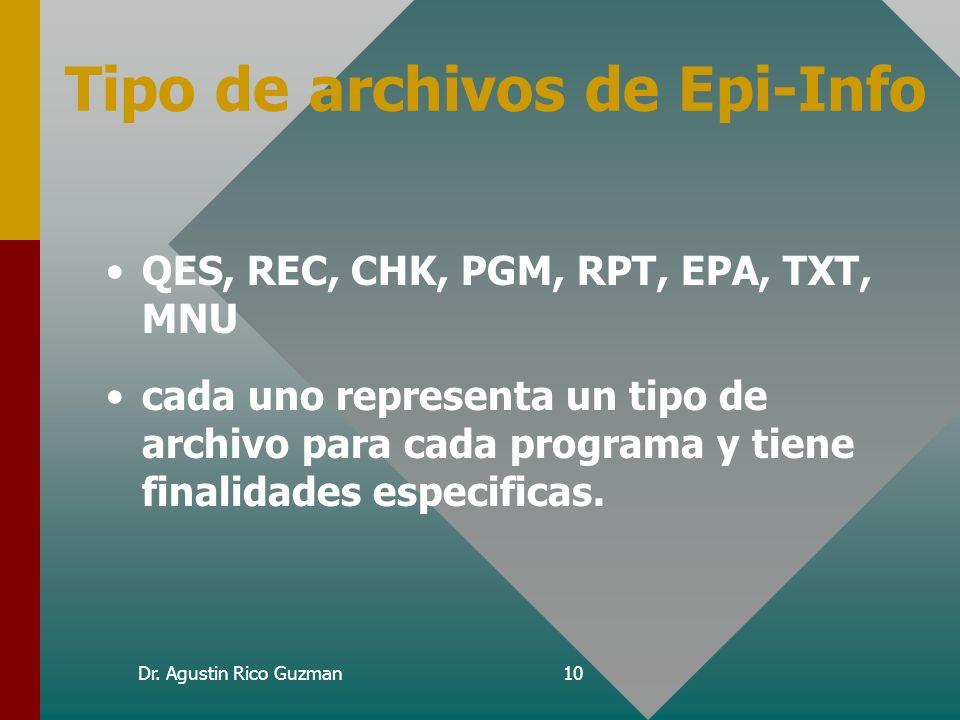Dr. Agustin Rico Guzman9 Como esta integrado Epi-Info PRINCIPALMENTE POR: – –Modulo de diseño y programación (EPED) – –Modulo de Captura, búsqueda y s