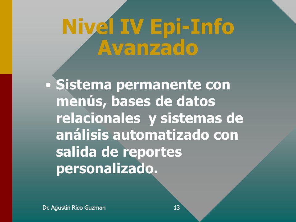 Dr. Agustin Rico Guzman12 Utilización de Epi-Info Nivel I – –Aplicación de cuestionarios sencillos y analisis simples, tablas y frecuencias Nivel II –