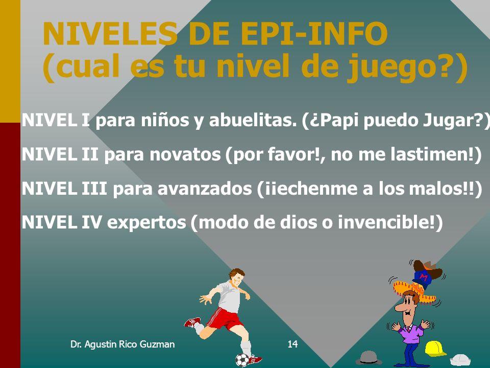 Dr. Agustin Rico Guzman13 Nivel IV Epi-Info Avanzado Sistema permanente con menús, bases de datos relacionales y sistemas de análisis automatizado con