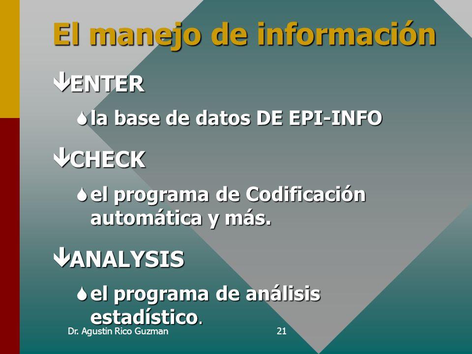 Dr. Agustin Rico Guzman20 ENTERENTER CHECKCHECK ANALYSISANALYSIS NOCIONES DE PROGRAMACIONNOCIONES DE PROGRAMACION 4 temas en la misma jeringa!