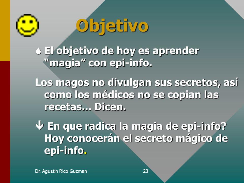 Dr. Agustin Rico Guzman22 La programación con epi-info Programar?? Con trabajos puedo escribir a maquina!! Validación de Datos Saltos condicionales An
