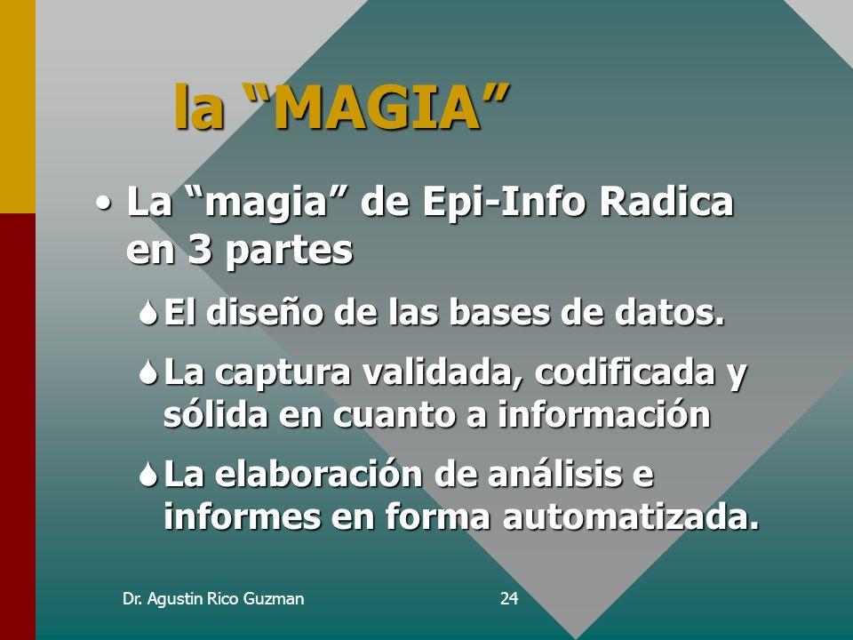 Dr. Agustin Rico Guzman23 Objetivo SEl objetivo de hoy es aprender magia con epi-info. Los magos no divulgan sus secretos, así como los médicos no se