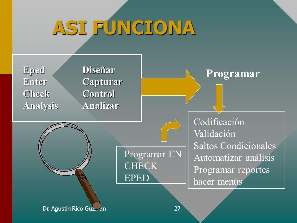 Dr. Agustin Rico Guzman26 Y ENTER DONDE QUEDO? S Enter es el manejador de la base de datos... Pero no podemos programar nada en el, solo es consultar,