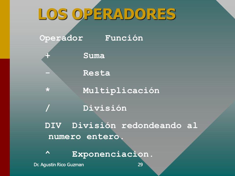 Dr. Agustin Rico Guzman28 El lenguaje de epi-info Epi-info utiliza expresiones y funciones matemáticas, llamados operadores. Con los operadores se pue